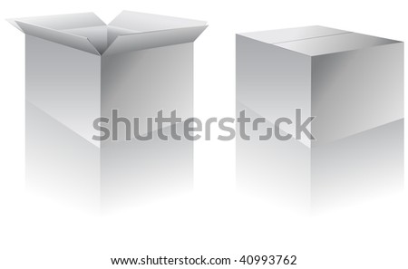 Boxes - open and closed.  This is a vector illustration.  The shadow/reflection is on a separate layer for easy editing/removal - stock vector