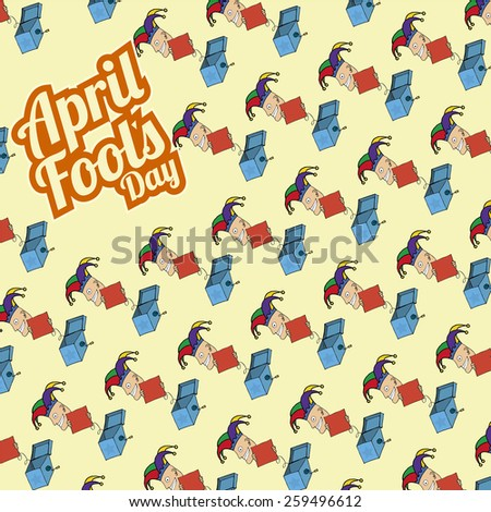 boxes surprises pattern with crazy joker in fool's day - stock vector