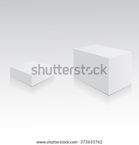 Boxes template. White boxes isolated with shadows and reflections. Mockup ready for your design. Vector illustration, eps 10 - stock vector