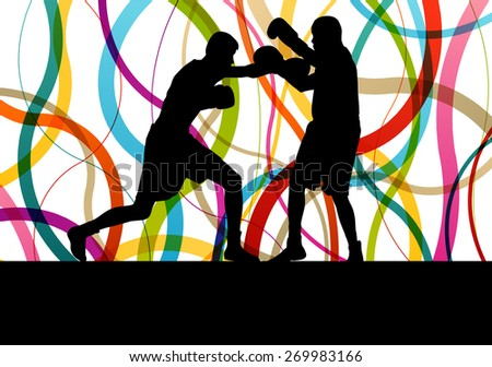 Boxing active young men box sport silhouettes abstract background illustration vector concept