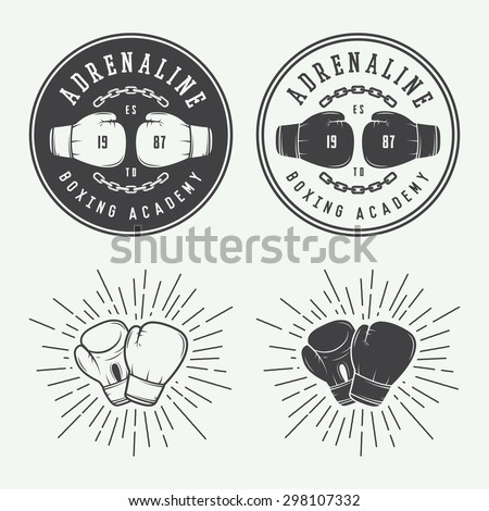 Boxing and martial arts logo badges and labels in vintage style. Vector illustration - stock vector