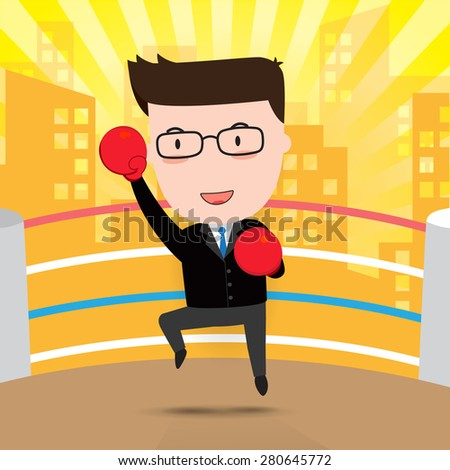 Boxing businessman character, Business concept, vector 10 - stock vector