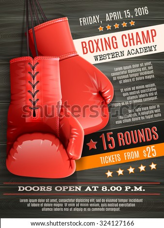 Boxing champ poster with realistic red gloves on wooden background vector illustration - stock vector