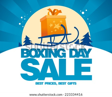Boxing day sale design with gift box on a sled. - stock vector
