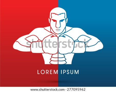 Boxing, Fighter, ready to fight, graphic vector.