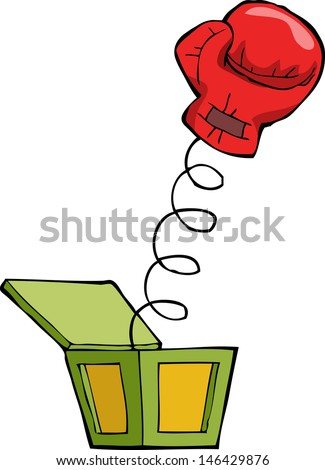 Boxing glove out of the box vector illustration - stock vector