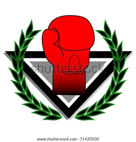 Boxing glove with laurel wreath - stock vector