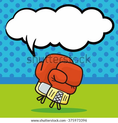 Boxing gloves doodle, speech bubble - stock vector