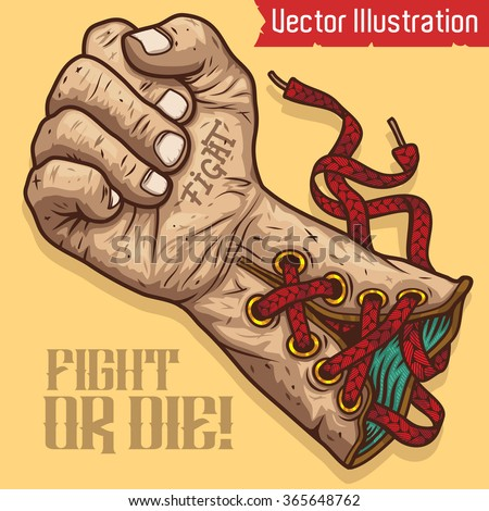 Boxing gloves. Fight or die - vector illustration. - stock vector