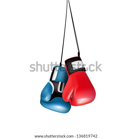 boxing gloves hanging isolated on white - stock vector