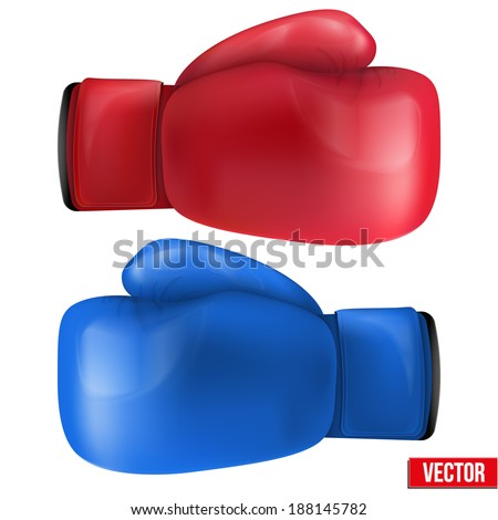 Boxing gloves isolated on white background. Realistic vector illustration. - stock vector