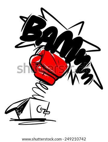 boxing gloves punch. cartoon illustration - stock vector