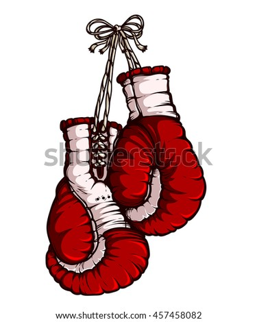 Boxing gloves. Red color. Isolated