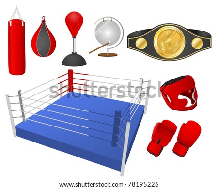 Boxing objects. Vector illustration. - stock vector