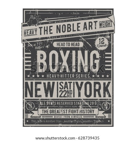 Boxing poster typography tee shirt graphics vectors