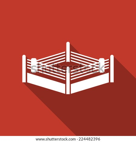 boxing ring icon with long shadow - stock vector
