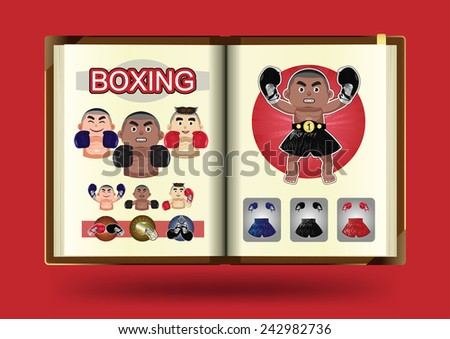 Boxing set on notebook page vector illustration - stock vector