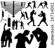 boxing silhouettes - stock vector