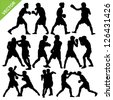 Boxing silhouettes vector - stock vector