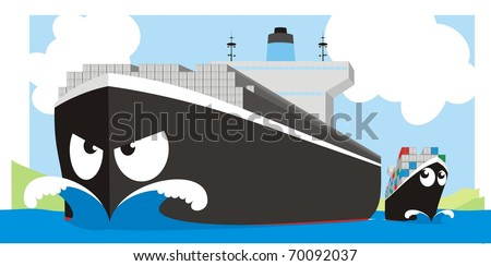 Boxship giant - Container vessel vector cartoon illustration - stock vector
