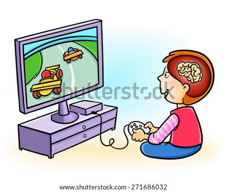 Boy addicted to playing video games. Excessive video game playing in kids may harm the brain!