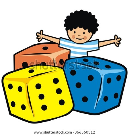 boy and dice - stock vector