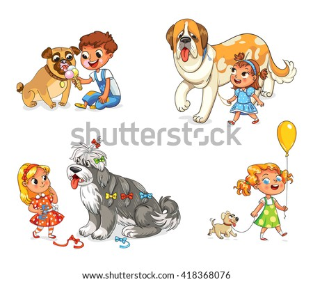 Boy and dog eating one ice-cream. Little girl walking with big St. Bernard. Beautiful girl is combing her dog with brush. Child walking with dog on leash. Funny cartoon character. Vector illustration - stock vector
