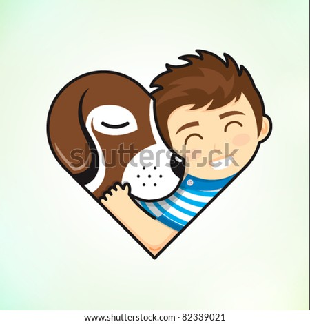 boy and dog embrace love - stock vector