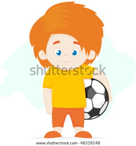 Boy and football soccer ball vector illustration - stock vector