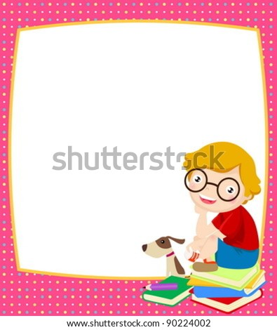 boy and frame - stock vector