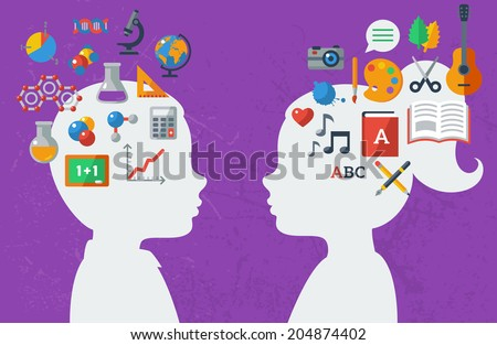 Boy and girl and their favorite subject in school. Vector illustration. Textured wall. Back to school concept art. Sciences and arts. Analytical and creative mind. - stock vector