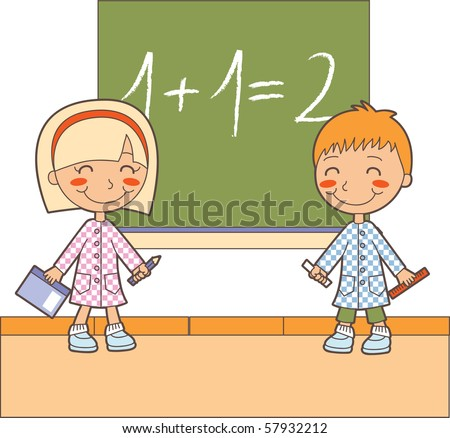 Boy and girl at classroom studying maths lesson solving operations - stock vector