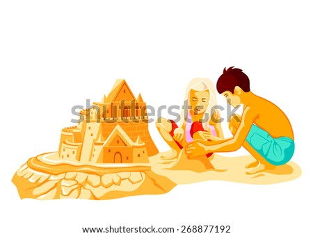 Boy and girl building big sand castle at the beach - stock vector