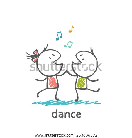 boy and girl dancing to music illustrator - stock vector