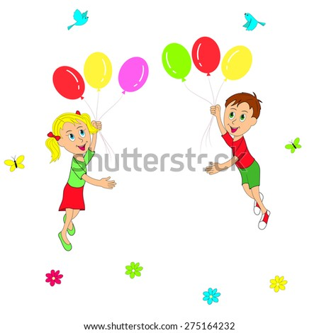 boy and girl flying in balloons on a white background, illustration, vector - stock vector