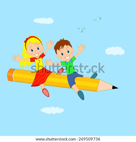 boy and girl flying on a pencil, illustration,vector - stock vector