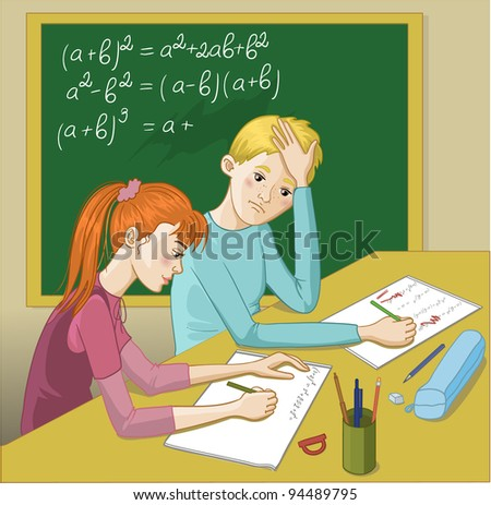Boy and girl in a classroom. Vector image of two teenagers in a classroom. A girl tries to explain mathematical exercises to a boy who has problem with homework. - stock vector