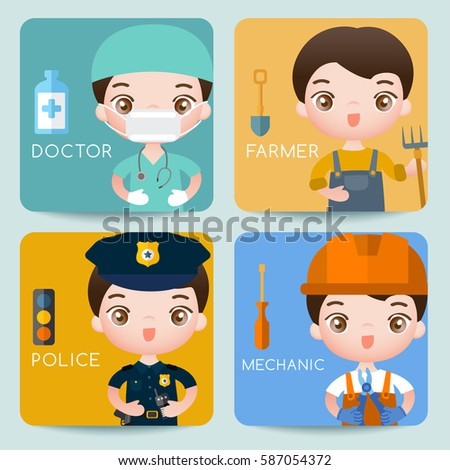 Boy and girl in professional clothing : Medical Staffs : Vector Illustration