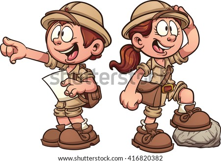 Boy and girl in safari outfits. Vector clip art cartoon illustration with simple gradients. - stock vector