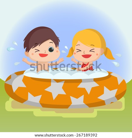 boy and girl in swimming pool Mascot cartoon great for any use. Vector EPS10. - stock vector