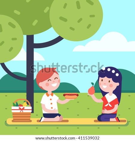 Boy and girl kids having lunch picnic under the park tree. Smiling kids characters. Modern flat vector illustration clipart. - stock vector