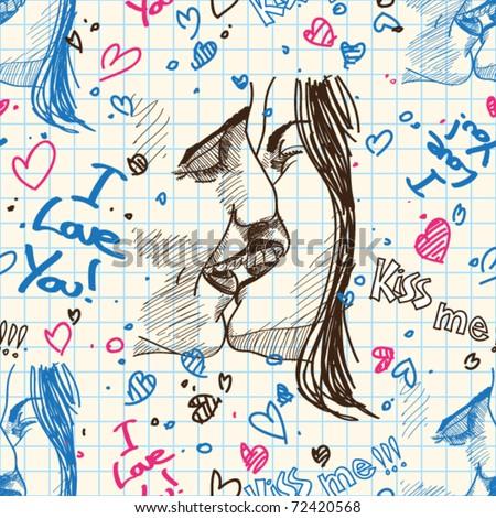 Boy and girl kissing. Seamless pattern. Vector illustration. - stock vector
