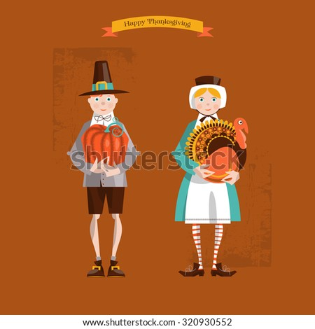 Boy and girl pilgrims with turkey and pumpkin. Thanksgiving card. Vector illustration - stock vector