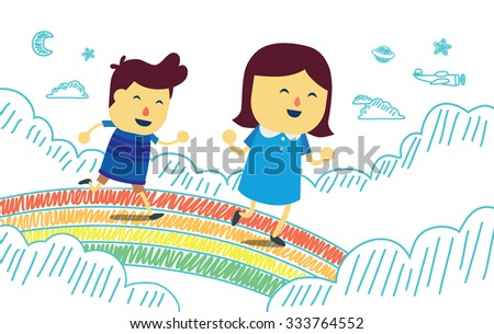Boy and girl play running on rainbow bridge in the sky. This is fantasy concept about kid - stock vector