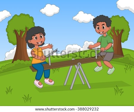 Boy and girl play teeter cartoon vector illustration - stock vector