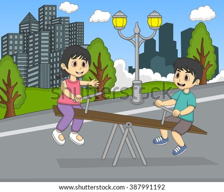Boy and girl playing teeter at the yard cartoon vector illustration - stock vector