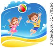 Boy and girl playing with ball on the beach - stock vector