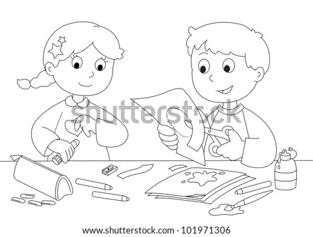 Boy and girl playing with paper, brushes, glue and pencils. Coloring vector.