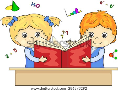 Boy and girl reading book together. Vector illustration for children - stock vector