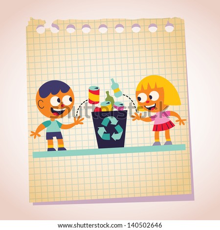 Boy and girl recycling note paper cartoon illustration - stock vector
